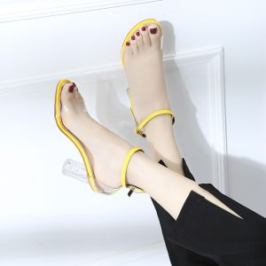 Transparent Yellow Casual Summer Womens Sandals 2018 Ankle Strap 7 cm Thick Heels Open / Peep Toe Sandals