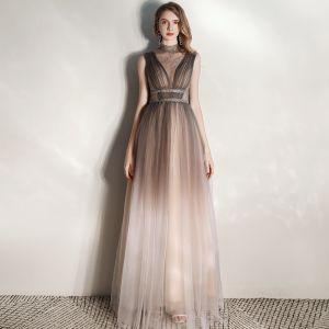 Illusion Marron Transparentes Robe De Soirée 2020 Princesse Col Haut Sans Manches Faux Diamant Ceinture Longue Volants Robe De Ceremonie