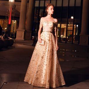 Elegant Champagne Evening Dresses  2019 A-Line / Princess Off-The-Shoulder Short Sleeve Metal Sash Glitter Tulle Floor-Length / Long Ruffle Backless Formal Dresses