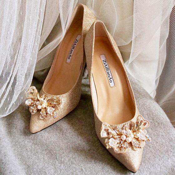 Glitzernden Charmant Gold Brautschuhe 2020 Leder Glanz Pailletten Perle Strass 6 cm Stilettos Spitzschuh Hochzeit Pumps