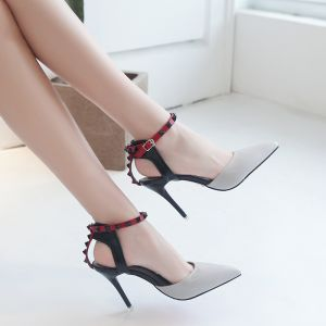 Chic / Beautiful 2017 8 cm Grey Evening Party PU Summer Rivet High Heels Stiletto Heels Pumps