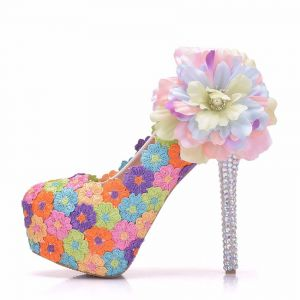 Blumenfee Multifarben Ball Pumps 2018 Spitze Handgefertigt Blumen 14 cm Strass Stilettos Runde Zeh Pumps