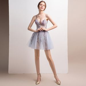 Sexy Sky Blue Short Cocktail Party 2018 A-Line / Princess V-Neck Tulle Appliques Backless Beading Sequins Cocktail Dresses Formal Dresses