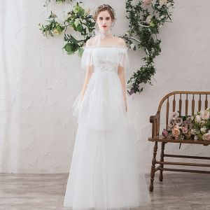 Light White Beach Wedding Dresses 2019 A-Line / Princess Off-The-Shoulder Pearl Lace Flower Appliques Short Sleeve Backless Floor-Length / Long