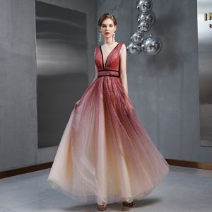 Charming Burgundy Gradient-Color Evening Dresses  2020 A-Line / Princess See-through Deep V-Neck Sleeveless Glitter Tulle Floor-Length / Long Ruffle Backless Formal Dresses