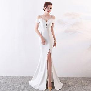 Chic / Beautiful Solid Color Ivory Evening Dresses  2019 Trumpet / Mermaid Spaghetti Straps Beading Tassel Sleeveless Backless Split Front Floor-Length / Long Formal Dresses