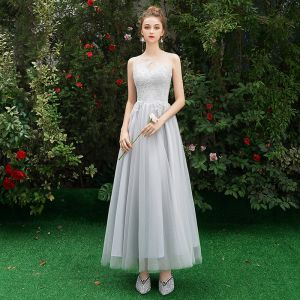 Affordable Grey See-through Bridesmaid Dresses 2019 A-Line / Princess Sleeveless Appliques Lace Floor-Length / Long Ruffle Wedding Party Dresses