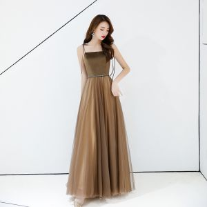 Chic / Beautiful Brown Evening Dresses  2019 A-Line / Princess Spaghetti Straps Sleeveless Backless Floor-Length / Long Formal Dresses