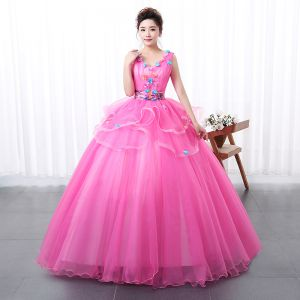 Flower Fairy Fuchsia Prom Dresses 2020 Ball Gown V-Neck Appliques Sleeveless Backless Floor-Length / Long Formal Dresses