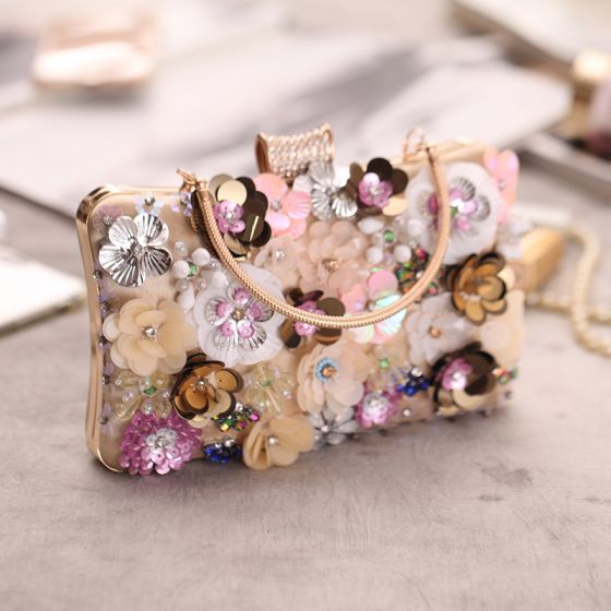 Modern / Fashion Gold Sequins Flower Beading Rhinestone Metal Clutch Bags 2018