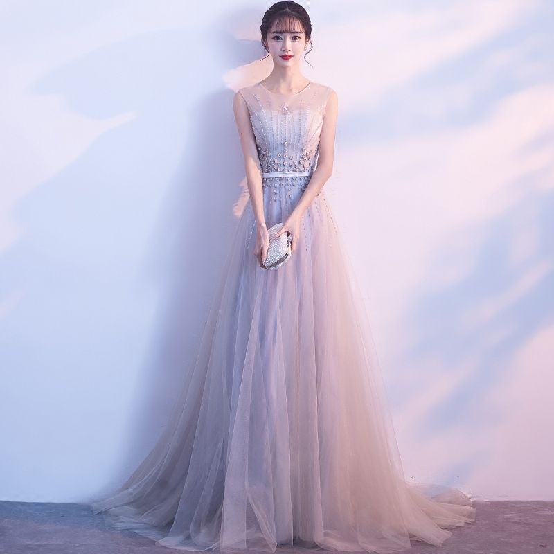 Chic / Beautiful Grey Evening Dresses  2018 A-Line / Princess U-Neck Tulle Appliques Backless Beading Evening Party Formal Dresses