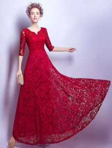 Elegant Evening Dress 2017 With Half Sleeves Burgundy Lace Long Dress Beaded Crystal