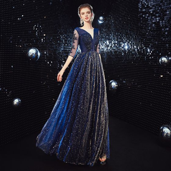 Affordable Royal Blue Evening Dresses  2020 A-Line / Princess See-through V-Neck 3/4 Sleeve Appliques Lace Beading Glitter Tulle Floor-Length / Long Ruffle Backless Formal Dresses