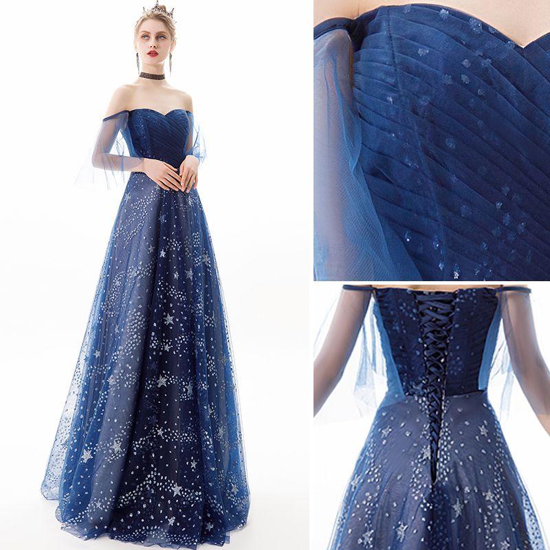 Moderne / Mode Bleu Marine Robe De Soirée 2019 Princesse De l'épaule Étoile Paillettes Manches Courtes Dos Nu Longue Robe De Ceremonie