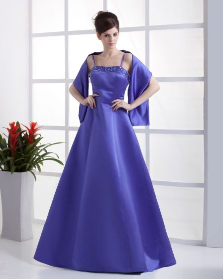 Satin Spaghetti Straps Ruffle Floor Length Bridesmaid Dresses