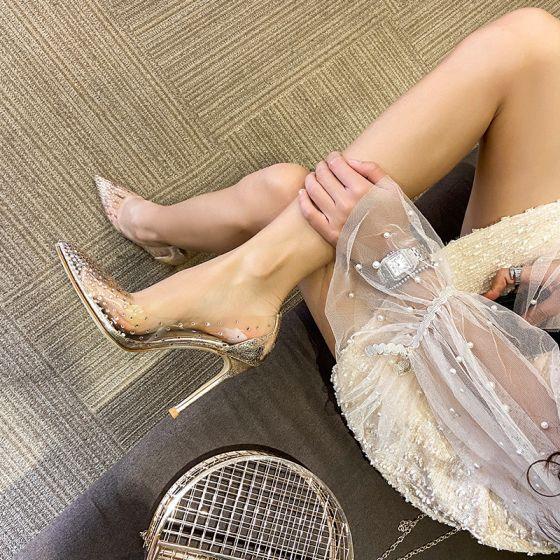 Sexy Doré Soirée Faux Diamant Escarpins 2020 Paillettes 10 cm Talons Aiguilles À Bout Pointu Escarpins