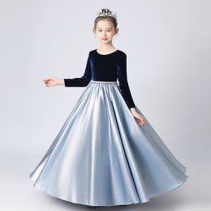 Deux tons Bleu Marine Bleu Ciel Hiver Anniversaire Robe Ceremonie Fille 2021 Princesse Encolure Dégagée Manches Longues Perle Ceinture Longue Volants