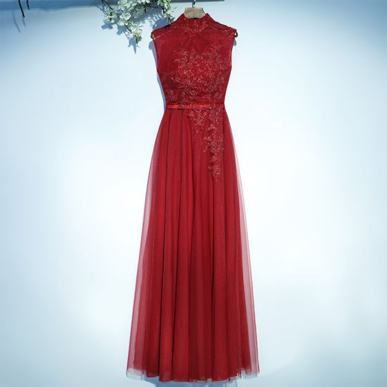 Chic / Beautiful Red Formal Dresses 2017 A-Line / Princess Lace Flower Sequins Strappy Ankle Length High Neck Evening Dresses