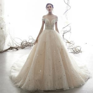Luxury / Gorgeous Champagne Wedding Dresses 2019 Ball Gown Off-The-Shoulder V-Neck Short Sleeve Backless Beading Glitter Sequins Tulle Cathedral Train Ruffle