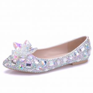 Scintillantes Argenté Chaussure De Mariée 2018 Cristal Faux Diamant À Bout Pointu Plate