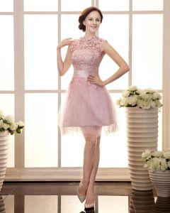 Przedza Satyna Aplikacja Plisowana Wokol Szyi Do Kolan Tanie Sukienki Koktajlowe Sukienki Wizytowe