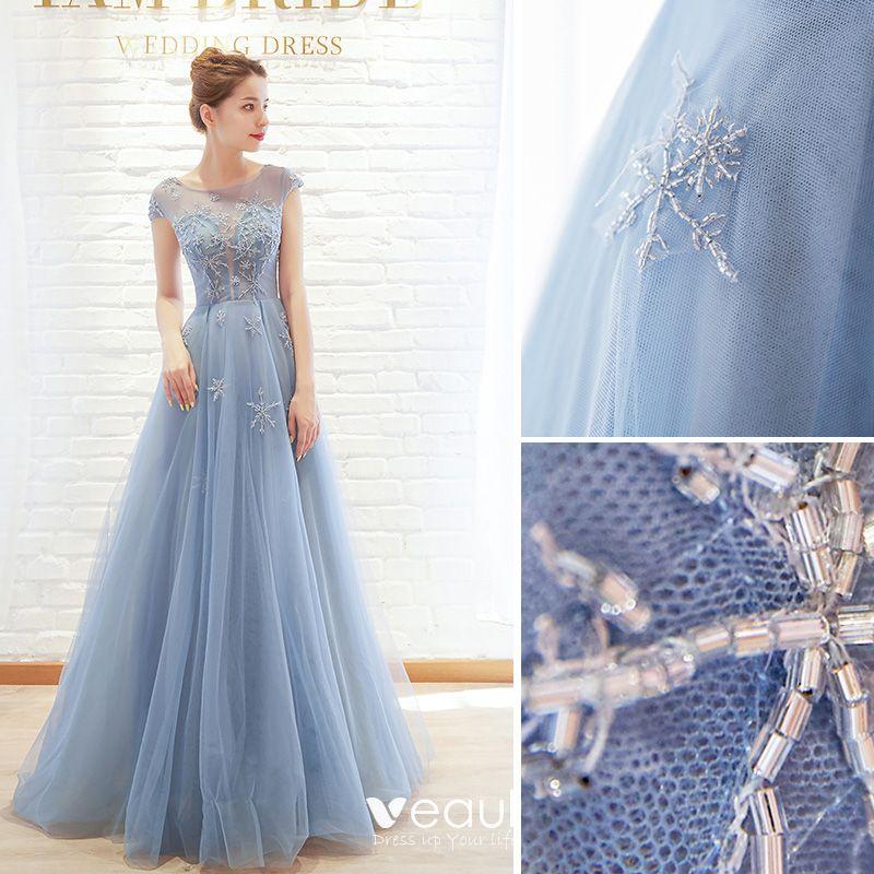 Hermoso Azul Cielo Vestidos De Noche 2019 A Line Princess Scoop Escote Rebordear Mangas De La Tapa Largos Vestidos Formales