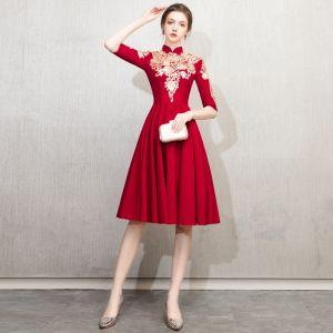 Style Chinois Bordeaux Robe De Soirée 2019 Princesse Col Haut Doré En Dentelle Fleur 1/2 Manches Mi-Longues Robe De Ceremonie