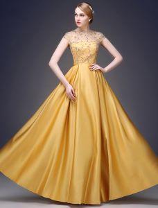 2015 A-linie Prinzessin Quadratischen Ausschnitt Sicke Pailletten Ärmeln Satin Abendkleid