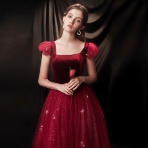 Vintage Borgoña Vestidos de noche 2020 A-Line / Princess Escote Cuadrado Manga Corta Glitter Tul Largos Ruffle Sin Espalda Vestidos Formales