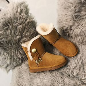 Classic Elegant Brown Snow Boots 2020 Buckle Tassel Woolen Leather Casual Outdoor / Garden Winter Flat Round Toe Womens Boots