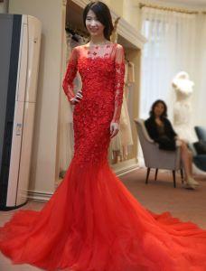 Syrenka Sukienki Wieczorowe 2016 Aplikacja Kwiaty Czerwone Tiulu Bez Pleców Długie Sukienki Wizytowe Z Rękawami