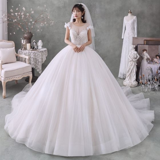 Best Ivory Bridal Wedding Dresses 2020 Ball Gown See-through Scoop Neck Short Sleeve Appliques Flower Backless Beading Glitter Tulle Chapel Train Ruffle
