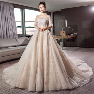 Vintage / Retro Champagne Wedding Dresses 2018 A-Line / Princess Square Neckline 1/2 Sleeves Backless Crystal Beading Glitter Lace Cathedral Train Ruffle