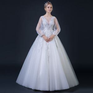 Affordable White See-through Wedding Dresses 2018 Ball Gown V-Neck Long Sleeve Backless Appliques Lace Rhinestone Beading Ruffle Floor-Length / Long