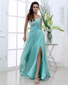 One Shoulder Neckline Sleeveless Floor Length Beading Pleated Chiffon Woman Prom Dresses