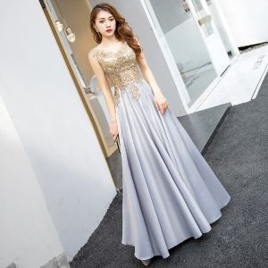 Illusion Silver Evening Dresses  2018 A-Line / Princess V-Neck Sleeveless Rhinestone Floor-Length / Long Ruffle Backless Formal Dresses