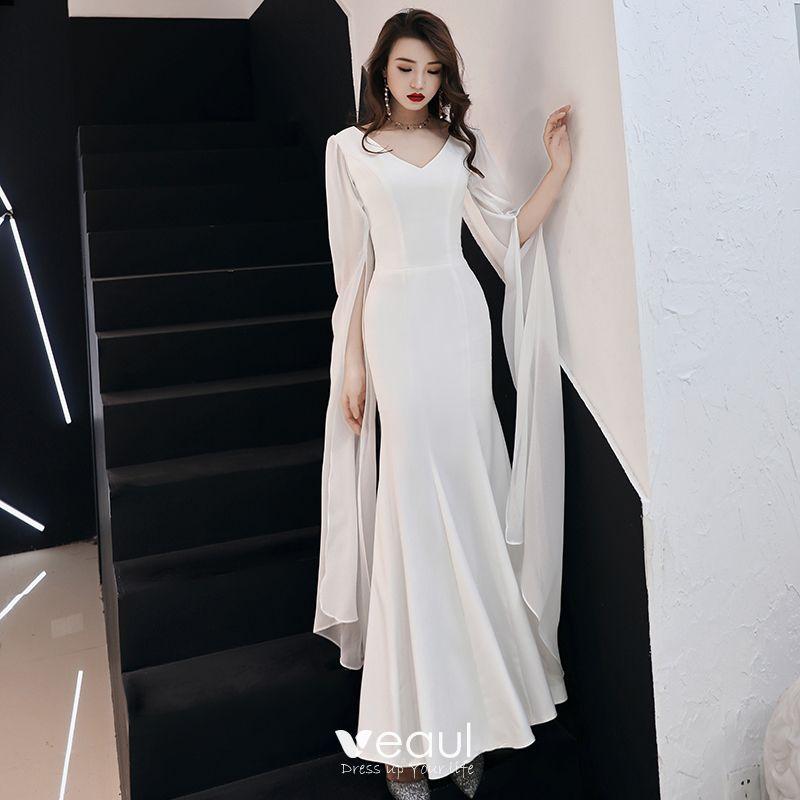 e751129b2d Modest / Simple Ivory Chiffon Evening Dresses 2019 Trumpet / Mermaid ...