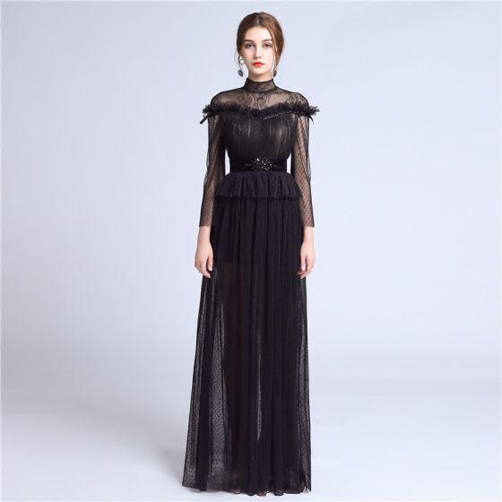 Eleganckie Czarne Koronkowe Sukienki Wieczorowe 2018 Princessa Wysokiej Szyi Długie Rękawy Frezowanie Szarfa Długie Plisowane Sukienki Wizytowe