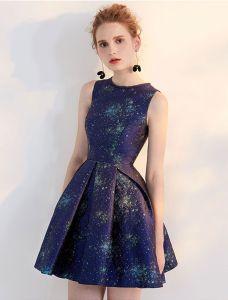 Mode Korte Feestjurk 2017 Nachtblauw Cocktailjurk