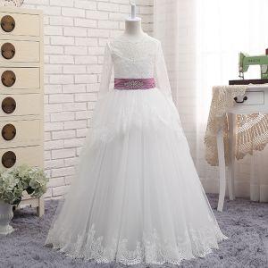 Schöne Weiß Mädchenkleider 2017 A Linie Spitze Rüschen Quaste Rückenfreies Rundhalsausschnitt Schleife Lange Ärmel Lange Hochzeit