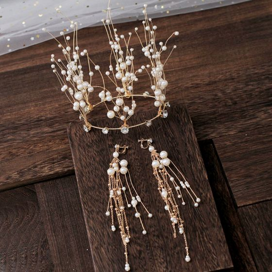 Luxury / Gorgeous Gold Tiara Earrings Pearl Rhinestone Accessories 2019 Bridal Hair Accessories