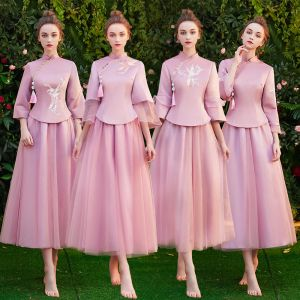 Chinese style Candy Pink Bridesmaid Dresses 2019 A-Line / Princess High Neck 3/4 Sleeve Embroidered Tassel Tea-length Ruffle Wedding Party Dresses