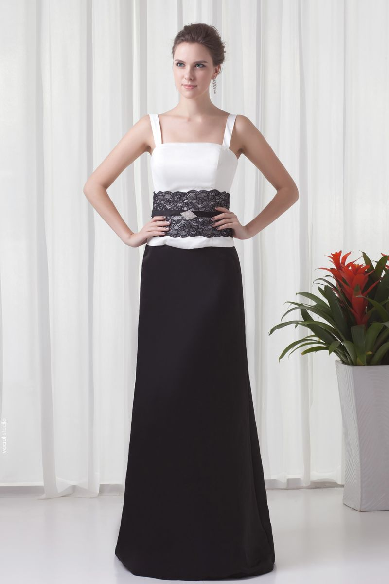 Shoulder Straps Floor length Beading Satin Mother of the Bride Dress