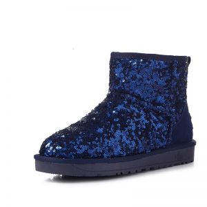 Sparkly Snow Boots 2017 Royal Blue Leather Ankle Suede Sequins Casual Winter Flat Womens Boots