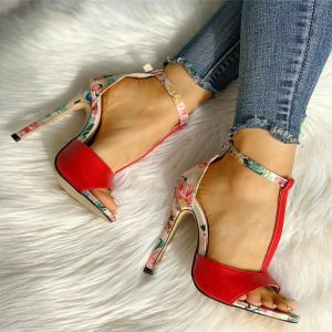 Chic / Beautiful Red Outdoor / Garden Floral Womens Sandals 2020 T-Strap 10 cm Stiletto Heels Open / Peep Toe Sandals