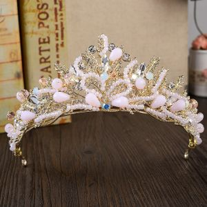 Luxury / Gorgeous Gold Metal Accessories 2018 Rhinestone Crystal Tiara