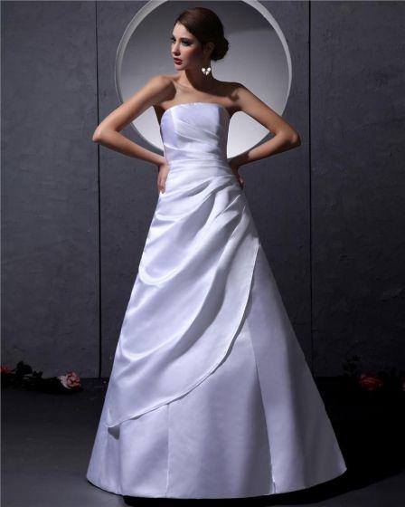 Strapless Sleeveless Lace Up Floor Length Ruffle Taffeta Woman A Line Wedding Dress
