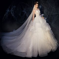 Classy Ivory Wedding Dresses 2019 A-Line / Princess Strapless Beading Lace Flower Star Sleeveless Backless Cathedral Train