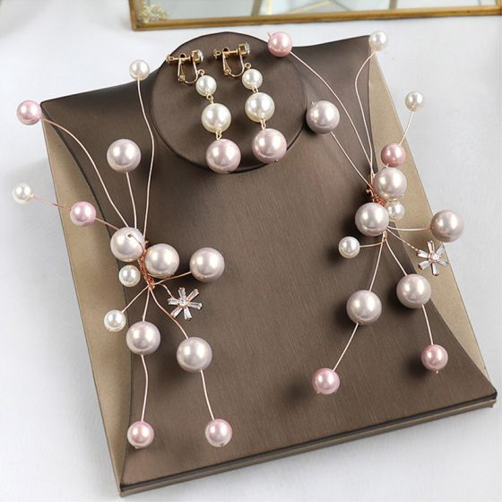 Modest / Simple Gold Earrings Headpieces Bridal Jewelry 2020 Alloy Pearl Wedding Accessories