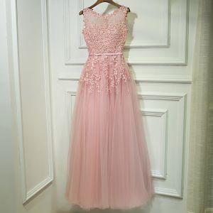 Mooie / Prachtige Candy Roze Bruidsmeisjes Jurken 2017 A lijn Kant Bloem Parel Strappy Mouwloos Enkellange Jurken Voor Bruiloft